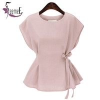 SeemeE Cotton Women Blouses Europe Apparel Draped Bow Lace-Up Summer Bottoming Tops Blusas Tee Round Collar Female Small Shirts