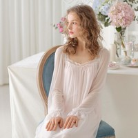 Sleepwear Women Vintage Nightwear Summer Nightgown Royal Nightgown Sexy Princess Long Sleeve Sleepwear