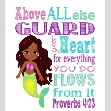 African American Ariel Mermaid Christian Princess Nursery Print - Above all else Guard your Heart Proverbs 4:23