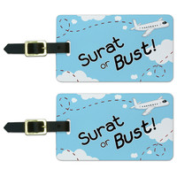 Surat or Bust Flying Airplane Luggage Tag Set