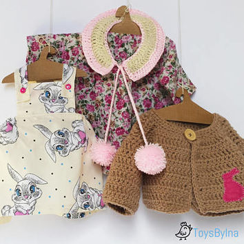 """Doll clothing set for 22"""" rag dolls, Dress up doll clothing,  Doll accessories, Kids toy playing set, Gift for girl, Toddler toys, Play set"""