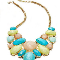 Charter Club Necklace, Gold-Tone Green and Aqua Stone Bib Necklace - All Fashion Jewelry - Jewelry & Watches - Macy's