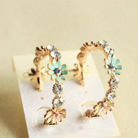 Rhinestone Daisy Floral Earrings