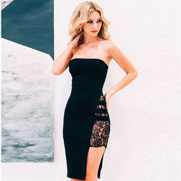 2017 Summer Style Dress Solid Sexy Club Off the Shoulder Lace Bodycon Dress Bandage Dress Strapless Black Solid Women Dresses
