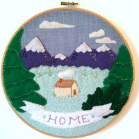 Decorative Home - Felt Wall Art in Embroidery Hoop