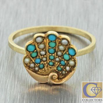 CREYUG7 Antique Art Deco 14k Yellow Gold Turquoise Seed Pearl Palm Leaf Conversion Ring