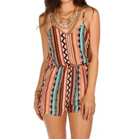 Tribal Caged Back Romper