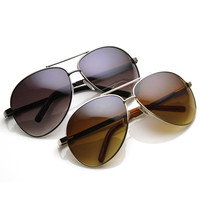 Designer Inspired Large Metal Aviator Sunglasses 1508 [2 Pack]