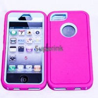 Multi Color Iphone 5 5S Body Armor Silicone Hybrid Cove Hard Case, Three Layer Silicone PC Case Cover for iPhone 5 5S (Hot Pink+Light Blue)