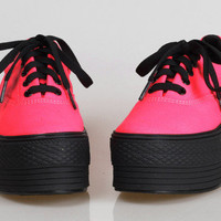 New Womens Ladies Low-Top Canvas Light Platform Sneakers Shoes Pink,Green