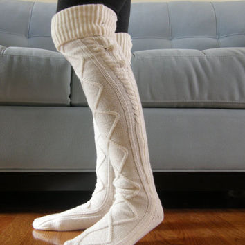 Boot Socks, Leg Warmers, Women's Accessories, Boot Topper, Knitted Boot Socks in Ivory - WIC022