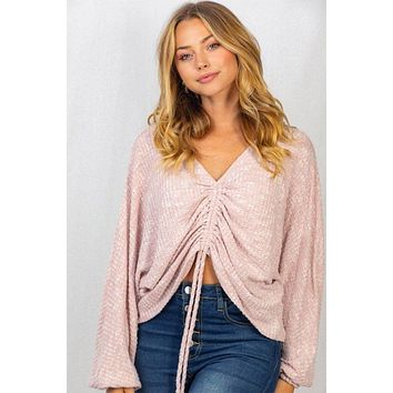 Feel Like Flirting Pink Ruched Long Sleeve Cropped Top