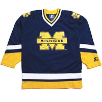 University of Michigan Applique Bar M Starter Hockey Jersey Navy (Medium)