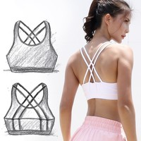 Sexy Strappy Sports Bra Running Fitness Top Yoga Bras Padded Sport Top Gym Athletic Underwear Push Up Brassiere Workout Vest