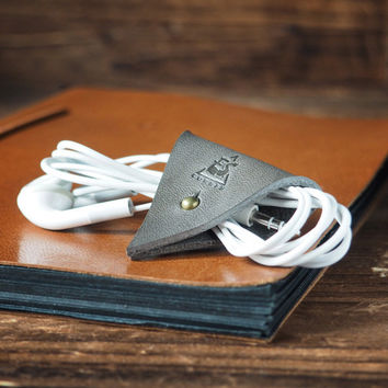 Leather Cord Holder #Grey