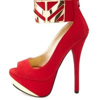 Qupid Gold-Plated Ankle Cuff Platform Heels - Dark Red