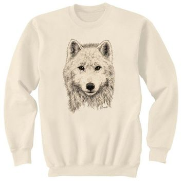 White Wolf Art Sweatshirt Ultra Cotton Small - 2XL
