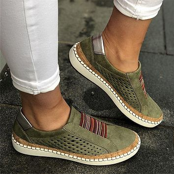 Women's Open Mesh Round Toe Suede Leather Sneakers