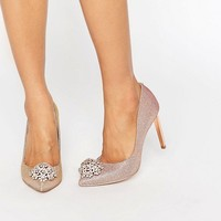 Ted Baker Peetch Tie The Knot Rose Gold Embellished Court Shoes at asos.com