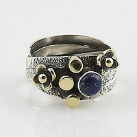 Lapis Sterling Silver Two Tone Ring