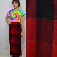 90s Plaid Maxi Skirt Large Vintage Red Black Tartan Gingham Winter Fall Long Womens Clothing Preppy Hipster 1990s Casual Wool