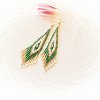 Seed Bead Earrings - Long Earrings - Boho Style Earrings, Beaded Earrings, Fringe Earrings, White Green Golden Earrings, Dangle Earrings