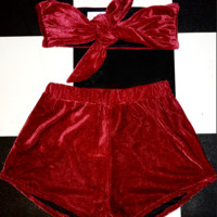 SWEET LORD O'MIGHTY! VELVET BABY SET IN WINE