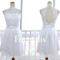 A Line Mini Short High Neck Lace and Chiffon White Prom Dresses, Cocktail Party Gown, Homecoming Dresses