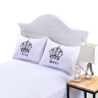 Royal Crown Decorative Pillow Covers Queen King Designer Pillow Cases Couple One Pair Shams for Gift