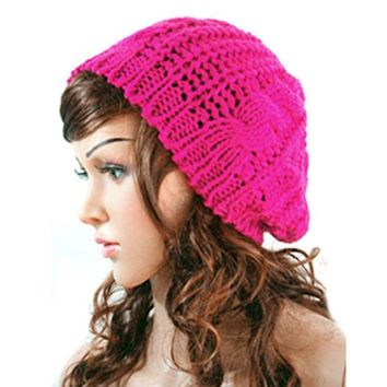 CREYL New Winter Women Lady Winter Warm Knitted  Hat  Crochet Slouch Baggy Beret Beanie Cap Women Autumn Bone Bonnet Gorro Y1 Q1