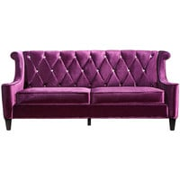 Barrister Sofa In Purple Velvet With Crystal Buttons