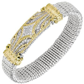 Vahan Sterling Silver & 14K Yellow Gold Diamond Bangle Bracelet