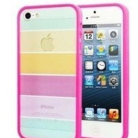 Light Rainbow Stripe iPhone 5 Case/Cover/Protector (Rose Pink)