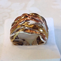 Bohemian Artisan Ring 925 Silver, Copper & Gold Cuff Design
