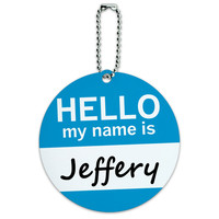 Jeffery Hello My Name Is Round ID Card Luggage Tag