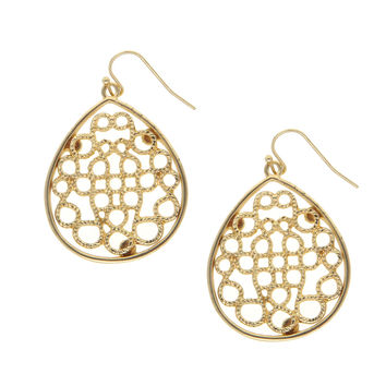 Dear Deer Filigree Tear Drop Gold Tone Dangle Earrings