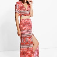Lorelai Wrap Tie Top & Maxi Skirt Co-Ord Set