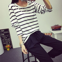 Fashion Women O-Neck Tops Rendering White Striped Long-Sleeved T-shirt Tee Clothes JL46