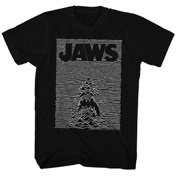 Jaws T-Shirt Waves Rippling Movie Poster Black Tee
