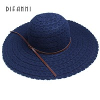 [DIFANNI] Summer Hats for Women Fashion Design Women Beach Sun Hat Foldable Brimmed Straw Hat