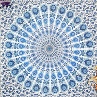 Peacock Mandala Tapestry Floral Indian wall hanging Hippie Throw Indian bedspread Wall decor Sofa Table Coverlet Hippy Mandala Twin Bedsheet