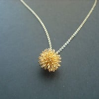 dandelion necklace 16K yellow gold plated by Lana0Crystal on Etsy