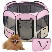 "33"" 600D 2-Door Pet Dog Cat Tent Puppy Playpen Exercise Guinea Pig Crate w Bag S"