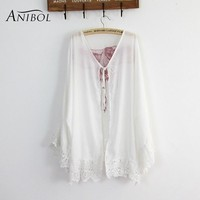 Cover ups Bikini Anibol 2017 Summer Beach Wear Bikini  Flare Sleeve Lace Edge Sun-protective Clothing White Chiffon Beach Dress Kaftan KO_13_1