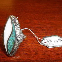 Turquoise and Sterling Silver Size 5 Statement Ring Blue & White Colors Wide Style Precious Metal Ladies Jewelry, Free Shipping and Gift Box