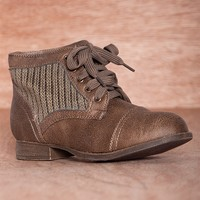 Refresh Cozy Crew Knit Sweater Panel Lace Up Boots Libby-09 - Taupe