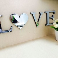 3D mirror letter wall sticker