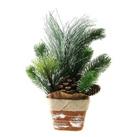 """12"""" Artificial Iced Pine Needles and Pine Cones in Burlap Basket Christmas Decoration"""