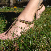 PAIR of Barefoot Sandals, Anklet toe ring, bracelet with bells, hippie boho gypsy jewelry