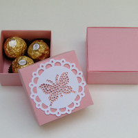 10 Pink - Pink Butterfly Crystal Rhinestone Sticker Favor Box